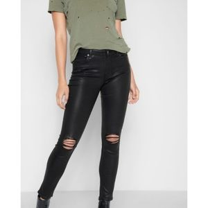 7 For All Mankind Ankle Skinny Jeans in Coated Destroy